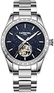 Women's Automatic Mechanical Female Watch Personality Sparkling Stars in The Blue Sky Skeleton Dial