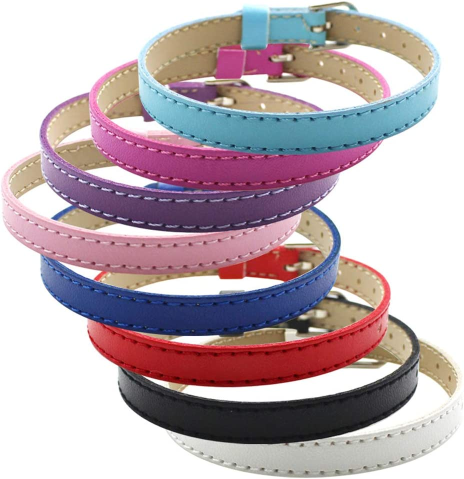 Ginooars Pack Cheap super special price of Weekly update 50pcs Mix Leather 8mm Bracelet Strap Colors