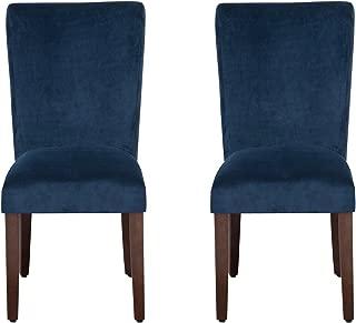 HomePop Parsons Classic Upholstered Accent Dining Chair, Set of 2, Navy Velvet