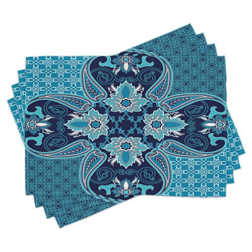 Ambesonne Navy Blue Place Mats Set of 4, Floral Paisley Design Bohemian Style Vintage Flower Petal Pattern, Washable Fabric Placemats for Dining Room Kitchen Table Decor, Blue Navy Blue and White
