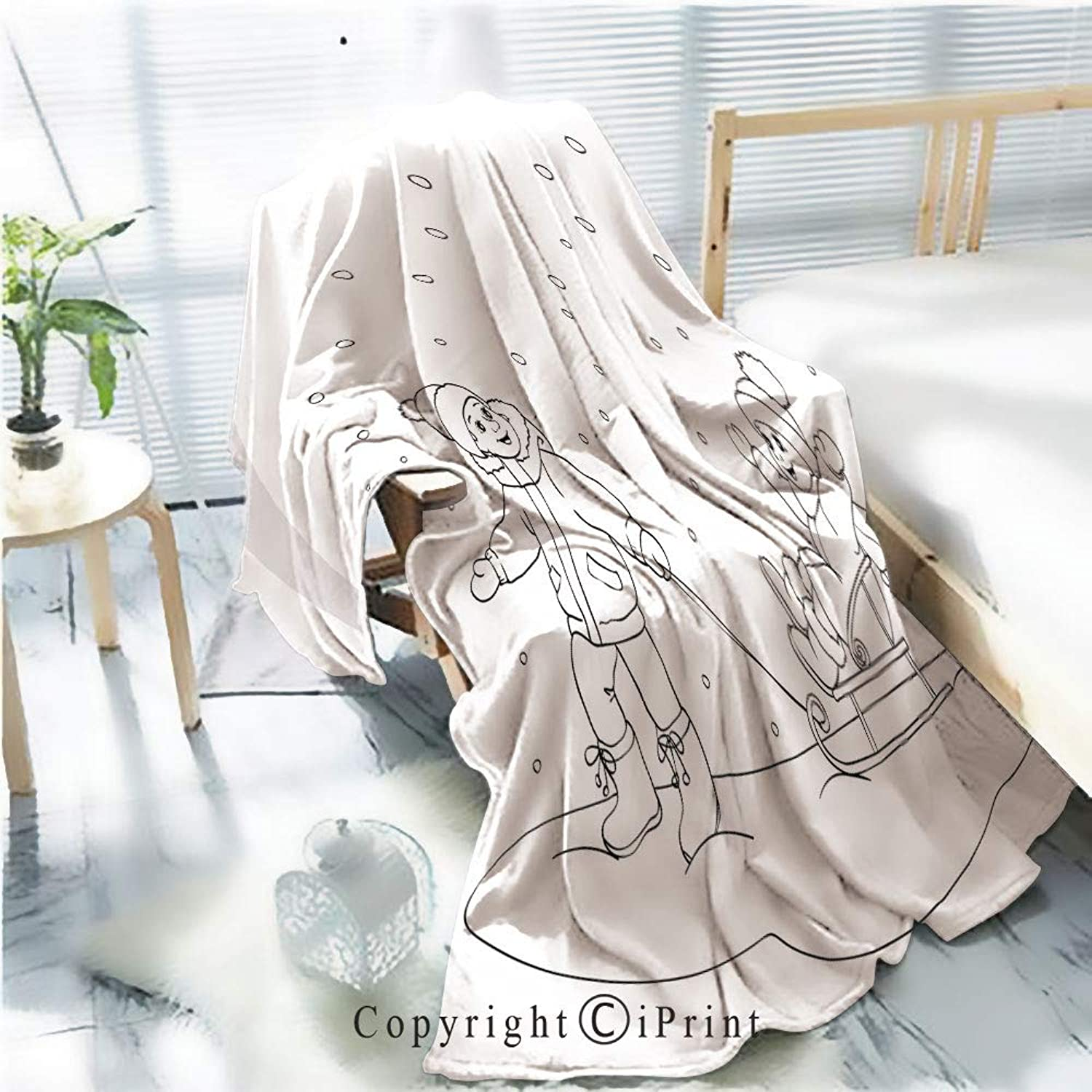 Printed Soft Blanket Premium Blanket,coloring Book or Page Boy and Girl with sled Microfiber Aqua Blanket for Couch Bed Living Room,W59.1 xH78.7