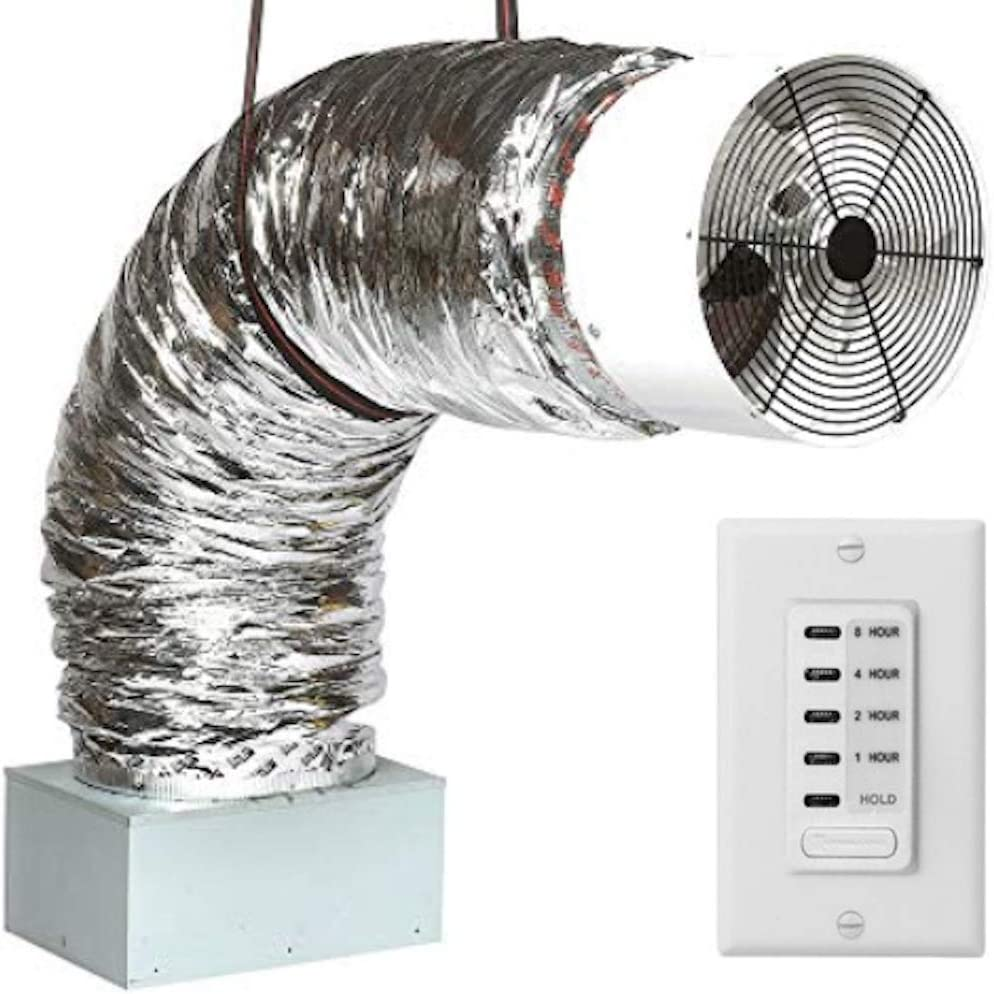 QA-Deluxe 3300(W) Energy Efficient Whole House Fan with R-5 Insulated Damper | 2-Speed Wall Switch & Timer | 2-Story Homes up to 1450 sqft & 1-Story up to 950 sqft