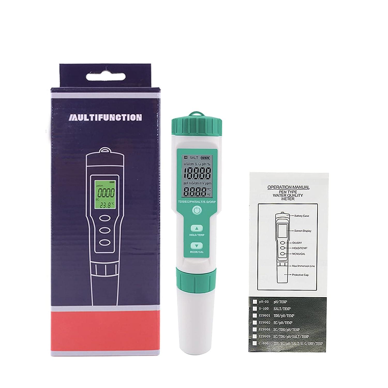 EUNEWR Medidor de PH digital PH TDS EC SG ORP, nivel de salinidad 7 en 1, prueba de calidad del agua (ATC), detector de calidad del agua IP67 para piscinas, agua potable, acuario