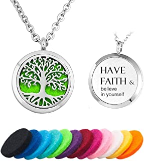 EV.YI Jewels Tree of Life Love Aromatherapy Essential Oil Diffuser Necklace Stainless Steel Locket Pendant 12 Pads