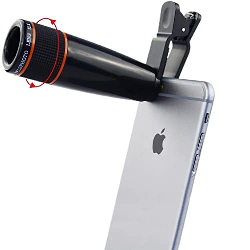 Teconica Universal 12X Zoom Mobile Phone Telescope Lens with Adjustable Clip Holder Compatible with All Android, Windows and iOS Devices - Random Colour
