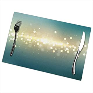 Emonye Placemats for Dining TableLights Bright ShiGlow_212Non-Slip Insulation Placemat Washable PVC Polyester for Kitche...