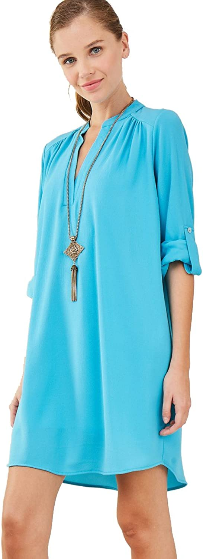Entro To Cute In Turquoise  Mandarin Collar Roll Cuff Shirt Dress