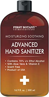 Hand Sanitizer Gel 70 Percent - Alcohol based with Aloe Vera Gel and Vitamin E, Unscented Hand Sanitizing Gel, Made in USA 16.9 fl oz | 500 ml with Dispensing Cap