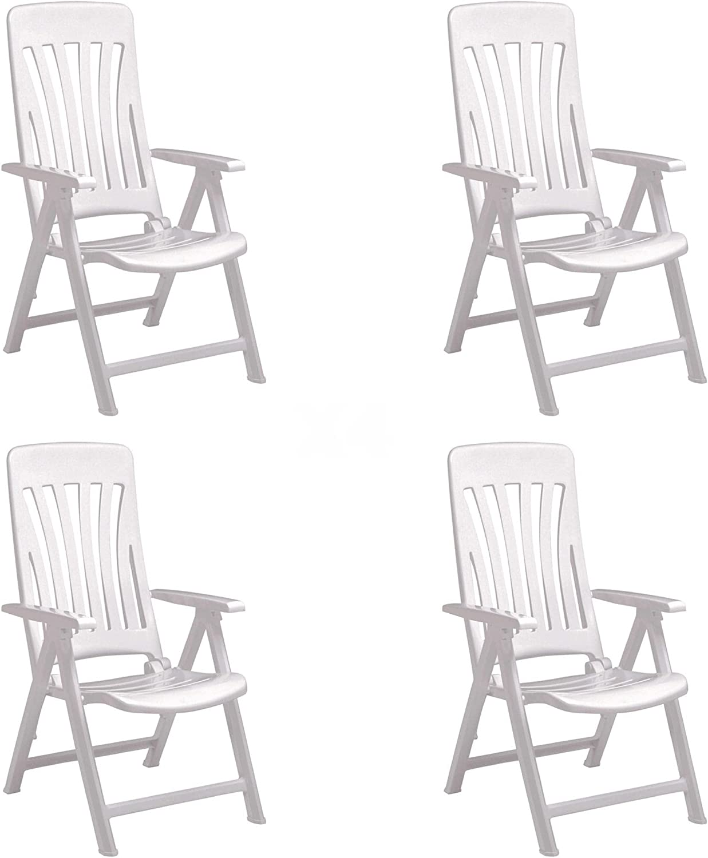 RESOL Blanes Set 4 Sillones de Jardín Reclinables 5 Posiciones con Respaldo Alto Aireado y Reposabrazos | Plegable, Ligero y Cómodo con Multiposición - Color Blanco