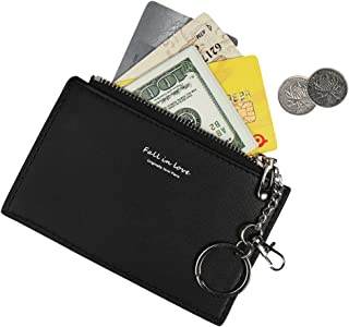 Small Wallets for Women Slim Leather Card Case Holder Cute Coin Purse with Keychains ID Window