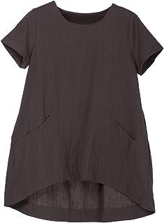 Minibee Women's Cotton Linen Short Sleeve Tunic/Top Tees