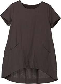 Minibee Women's Cotton Linen Short Sleeve Tunic/Top Tees