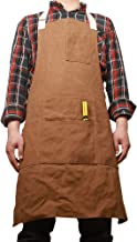 Waterproof Work Shop Apron For Men, Heavy Duty Waxed Canvas Woodworking Tool Apron Bib with Six Pockets, Adjustable Tool Aprons on Kitchen/Home/Garden WQ05