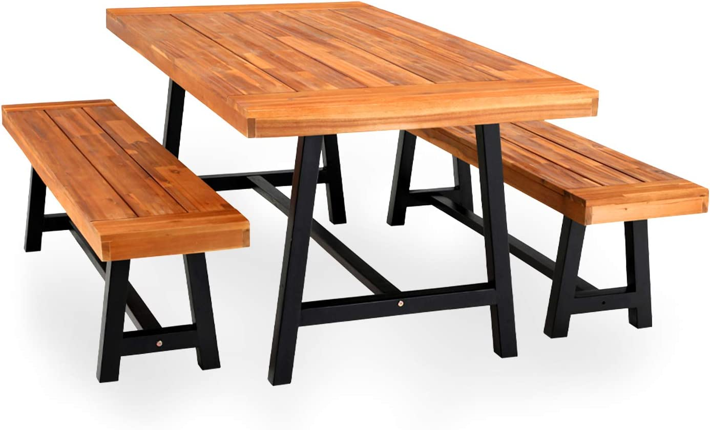 PHI VILLA Outdoor Table Bench Set Dining 3 Wood Sale special price of 2 1 Reservation