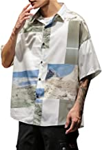 XQXCL Korean Shirt Men Tshirt Summer Vintage Tshirts Novelty Streetwear Loose Short Sleeve Tops Cotton Linen T-Shirts
