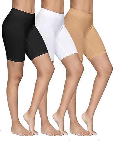 YADIFEN 3 Paquet Short sous Robe Femme Culotte Taille Haute Short de Yoga Longue Legging Cyclisme Doux Anti-Chafing B...
