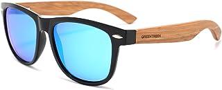 Sponsored Ad - GREENTREEN fashion Zebra Wood Sunglasses for women Mens sunglasses with Black Polarized Lenses for Men and ...