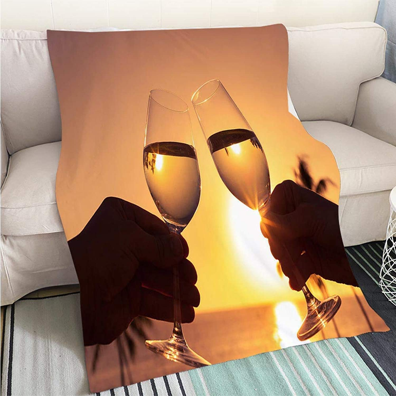 Luxury Super Soft Blanket Cheers Against a Sunset Perfect for Couch Sofa or Bed Cool Quilt