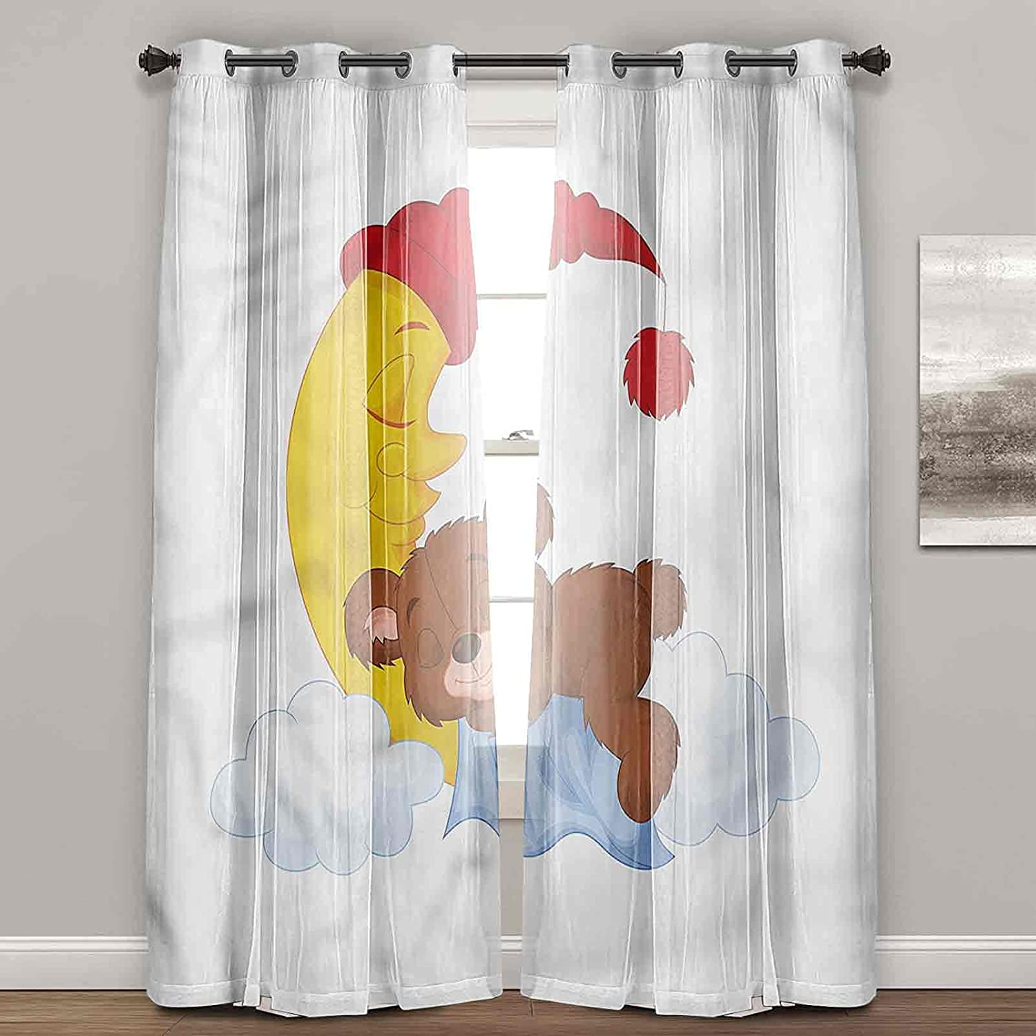 Japan's largest assortment Black Out Curtains Bear Kids Cartoon Drapes Baby L Moon favorite for on