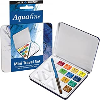 Daler Rowney Mini Travel Set Of 10 Aquafine Water Colour Paints In A Tin Box