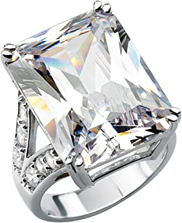 Palm Beach Jewelry Platinum Plated Emerald Cut Cubic Zirconia Split Shank Engagement Ring