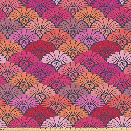 ABAKUHAUS schub Stof per strekkende meter, Bloemen Semi-cirkelmotieven, Stretch Gebreide Stof voor Kleding Naaien en Kunstnijverheid, 3 m, Veelkleurig
