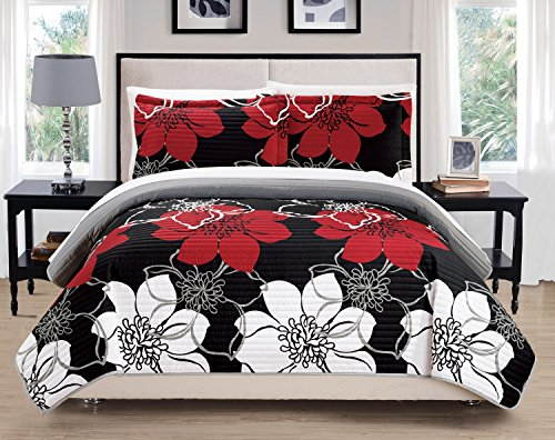 Chic Home Woodside 3 Piece Quilt Set Abstract Large Scale Printed Floral - Decorative Pillow Sham Included, King, Black