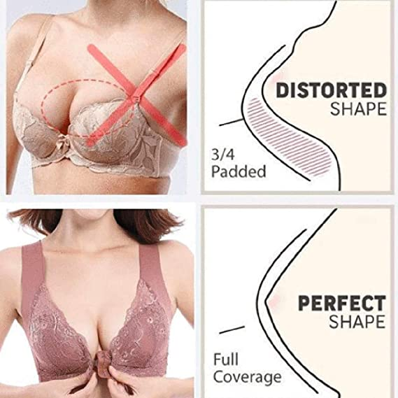 Women/'s Adjustable Sports Front Closure Extra-Elastic Breathable Lace Trim Bra