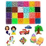Water Fuse Beads Kit - 24 Colors Mega Bead Set Compatible with Aquabeads and Beados Art Crafts Toys for Kids Over 3200 Classic and Craft Beads Complete Set