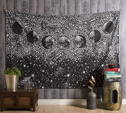 Aakriti Gallery Tapestry Queen Ombre Hippie Tapestries Mandala Bohemian Psychedelic Intricate Indian Bedspread 92x82 Inches (Moon Black)