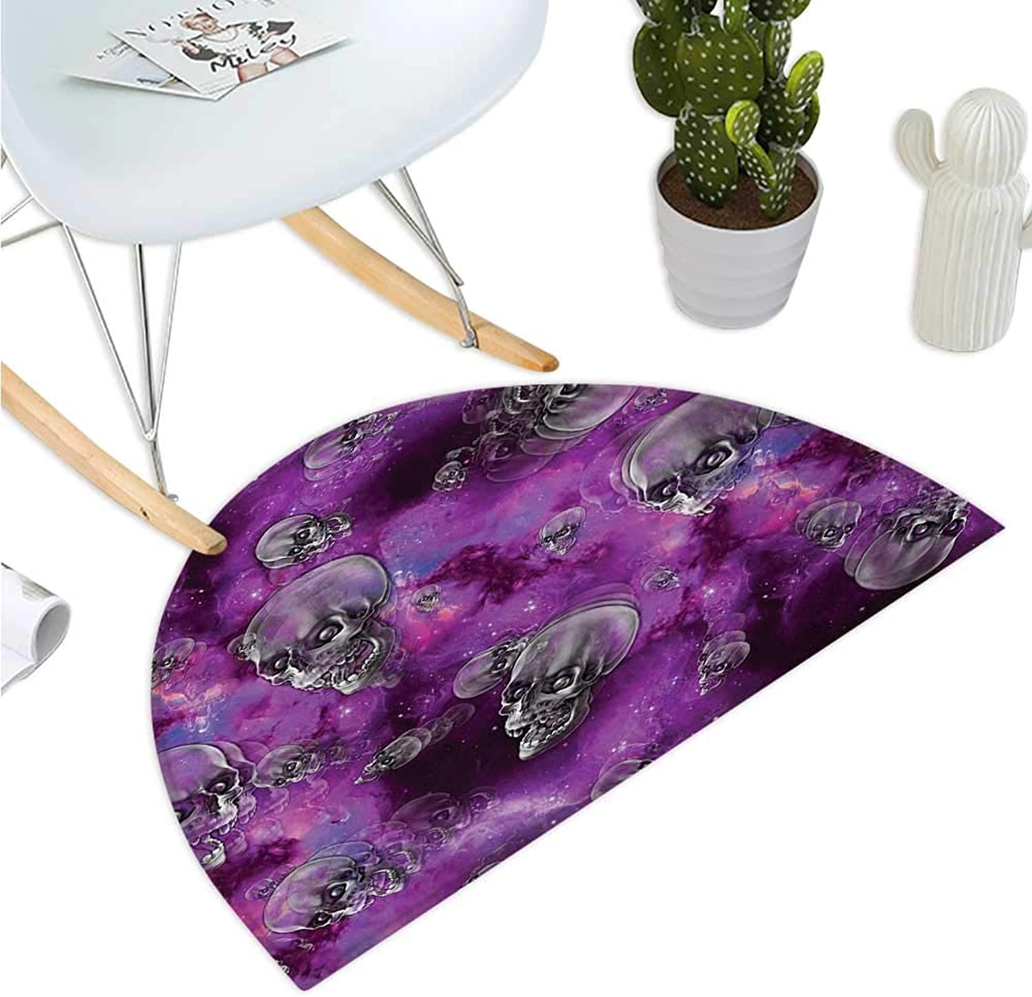Skull Semicircular Cushion Horror Movie Thirller Themed Flying Skull Heads Halloween in Outer Space Image Bathroom Mat H 35.4  xD 53.1  Black and Purple