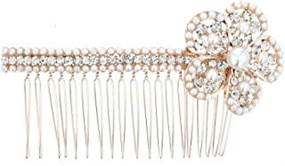 Violet & Virtue 女士新娘发梳,人造珍珠和透明水晶