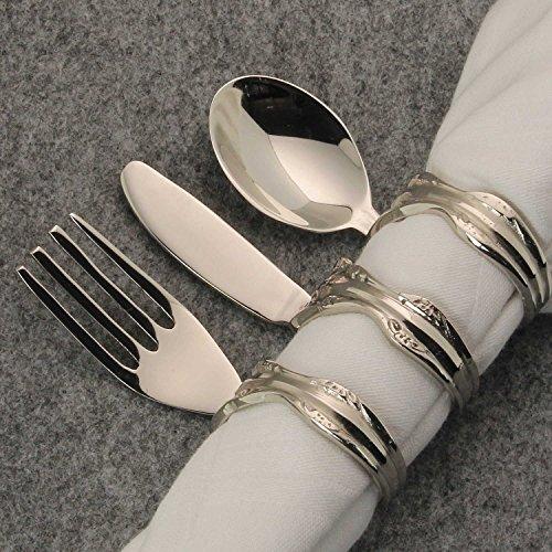 MACOSA WV389350 Serviettenring Besteck 6 STK. Silber festlich Tisch-Dekoration Serviettenhalter Tischset Dinner Zubehör Servietten-Ring Weihnachten