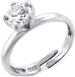 Silver Ring Cubic Zirconia Crystals Sterling Silver Size Adjustable 3-4 (E6998)