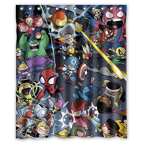 ZaZa Custom Marvel Comics Hero Captain America Iron Man Bathroom Shower Curtain 66