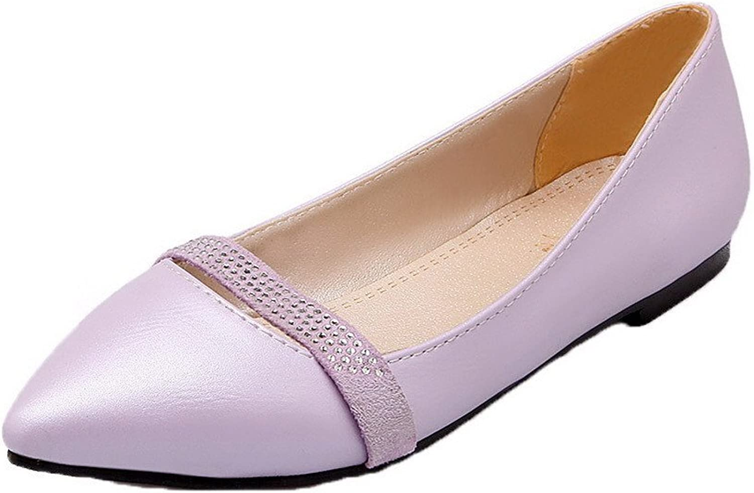 AllhqFashion Women's Low-Heels Pull-On PU Solid Closed-Toe Court shoes