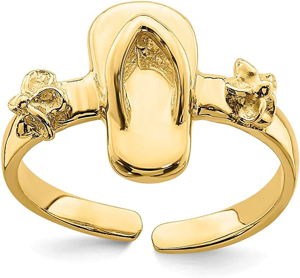 14K Yellow Gold Adjustable Flip-flop & Fower Toe Ring
