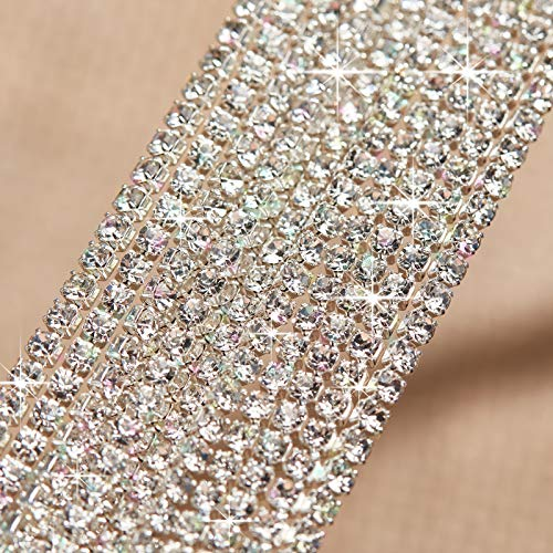 16.4 Yards 2 mm Rhinestone Crystal Close Chain Trim Claw Chain Glass Sew On Rhinestones Cup Chain for Sewing Jewelry Craft DIY Decorative Silver Bottom, SS6 (Clear)