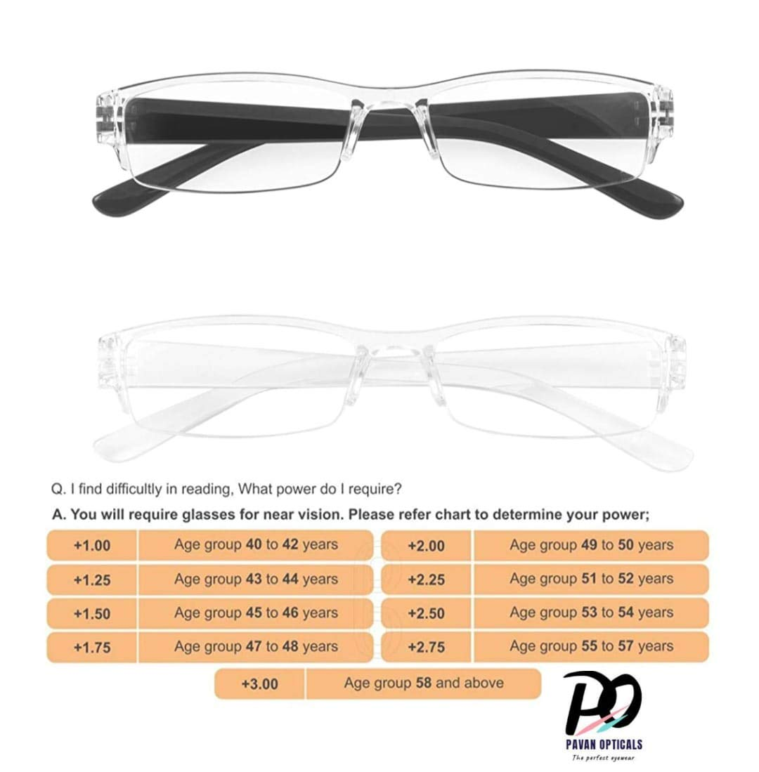 PAVAN OPTICALS® Reading Glasses Power spectacle for Men & Women ...