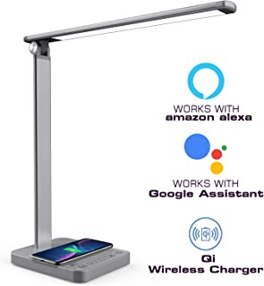 Smart LED Desk Lamp-Dimmable Table Lamp with Voice Remote Control, USB/Wireless Charging, 30min Timer and Touch Control 3 Color Models 6 Brightness Levels 10W 64LEDs(Gray, 2019 New Technology)