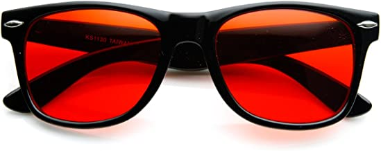 Rare Color Tinted Lens Classic Horn Rimmed Sunglasses (Red)