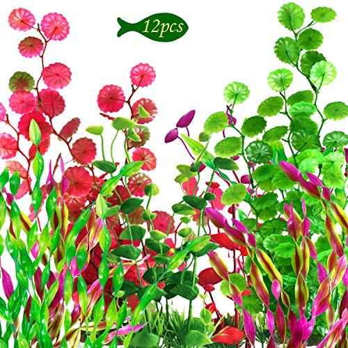 OrgMemory Plastikpflanzen für Aquarien, Aquarium Wasserpflanzen, (12 Stück, 24-40cm), Fisch Tank Dekoration