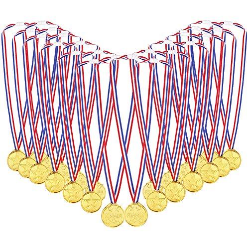 Caydo 72 Pcs Kids Children's Gold Plastic Winner Award Medals