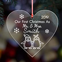 Howson London First Christmas as mr and mrs Xmas Decoration Bauble | Personalised Married Acrylic Tree Bauble for 1st Wedding Gifts Keepsake for Him or Her