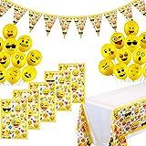 YuChiSX Emoji Globos, Bolsas de Regalo Emoji,Smiley Face de Emoji Lindo látex de expresiónPartido Globos de Fiesta para la Fiesta,Emoji Kit de Mesa Party Fiesta de Infantiles cumpleaños,Boda,Navidad