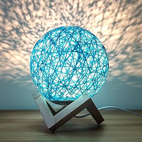 Romantic Night Light Creative INS Wind Starry Table lamp Bedroom Bedside lamp Fantasy Rattan Ball Moon Light (Blue, Button Switch)