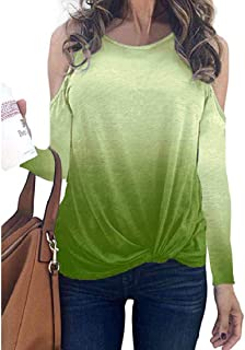 S-Fly Women Fashion Shirt Cut Out Shoulder Twist Knot Loose Long Sleeve Blouse Top