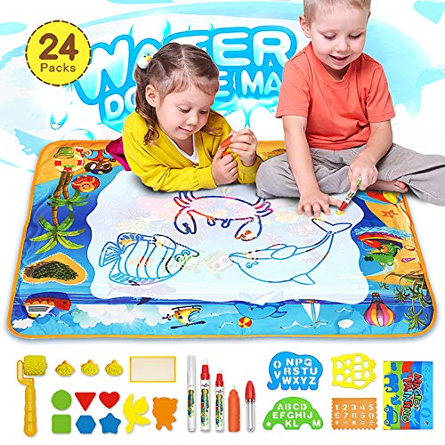 Juguete para Niños, Grande Agua Dibujo Pintura, Alfombra de Agua Doodle con 23 Accesorios de Dibujo, Esteras de Agua Doodle Regalo para Niños juguetes niños 2+ años, Navidad Cumpleaños (28x40)