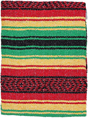 El Paso Designs Mexikanische Yoga-Decke, bunt, 129,5 x 188 cm, Studio mexikanische Falsa-Decke, ideal für Yoga, Camping, Picknick, Stranddecke, Bettwäsche, Heimdekoration, weich gewebt (Rasta)
