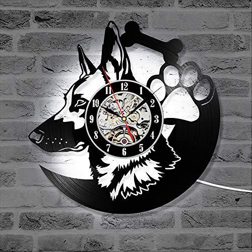 Ltteny Reloj de pared LED; Reloj retro montado en la pared Reloj de pastor Animal Diseño LP Reloj con 7 colores Regalo de amante del arte Decoraciones colgantes para Home Cafe Restaurant